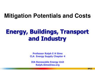 Mitigation Potentials and Costs