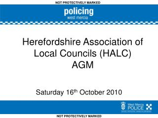 Herefordshire Association of Local Councils (HALC)  AGM