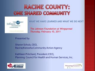 Racine County : One Shared Community
