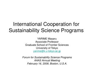 International Cooperation for Sustainability Science Programs