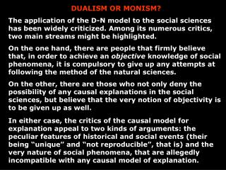 DUALISM OR MONISM?