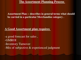 The Assortment Planning Process
