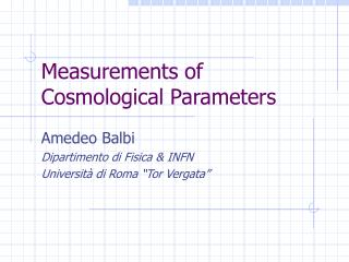 Measurements of Cosmological Parameters