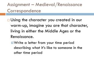 Assignment – Medieval/Renaissance Correspondence