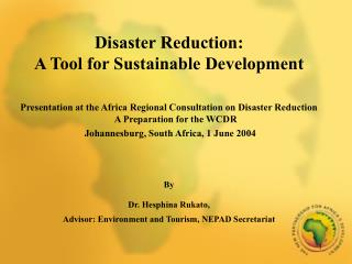 Disaster Reduction:  A Tool for Sustainable Development  Presentation at the Africa Regional Consultation on Disaster R