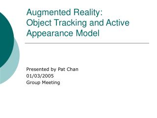 Augmented Reality : Object Tracking and Active Appearance Model