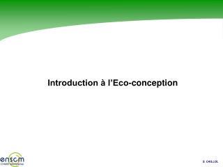 Introduction à l'Eco-conception