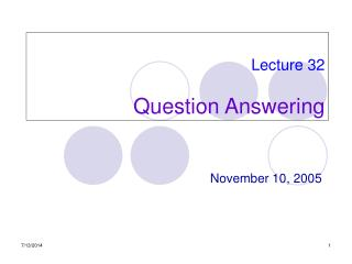 Lecture 32 Question Answering