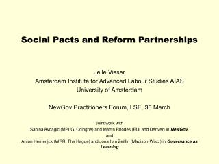 Social Pacts and Reform Partnerships