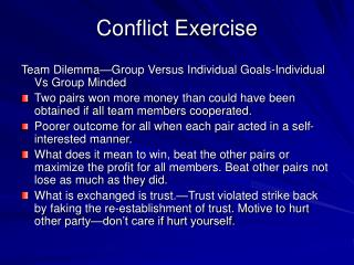 Conflict Exercise