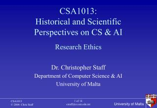 CSA1013: Historical and Scientific Perspectives on CS & AI