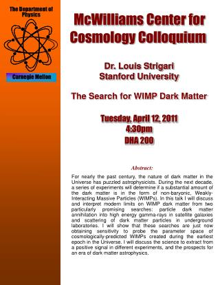McWilliams Center for Cosmology Colloquium