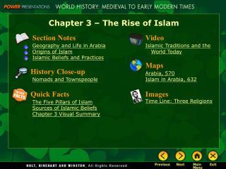 Main Idea 1:  Arabia is mostly a desert land.