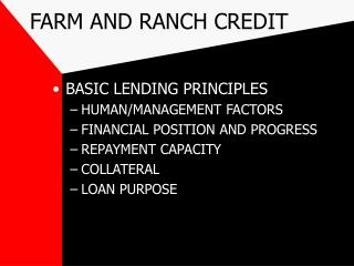 FARM AND RANCH CREDIT