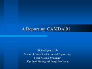 A Report on CAMDA�01