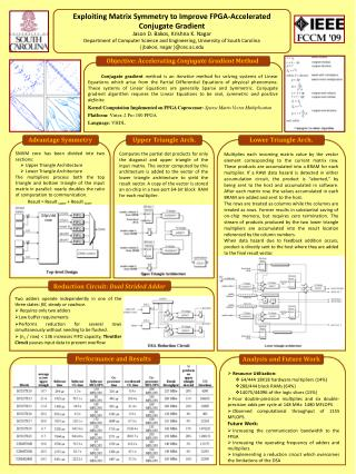 Exploiting Matrix Symmetry to Improve FPGA-Accelerated Conjugate Gradient Jason D. Bakos, Krishna K. Nagar