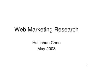 Web Marketing Research