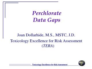 Perchlorate  Data Gaps