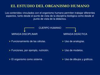 EL ESTUDIO DEL ORGANISMO HUMANO