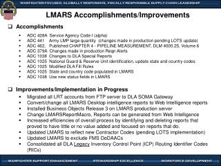 LMARS Accomplishments/Improvements