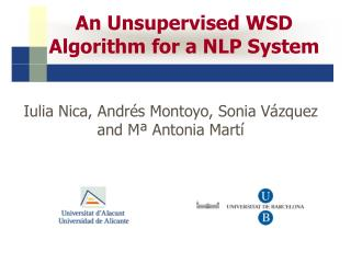 An Unsupervised WSD Algorithm for a NLP System