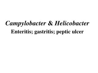 Campylobacter  &  Helicobacter Enteritis; gastritis; peptic ulcer