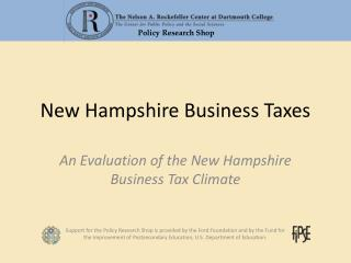 New Hampshire Business Taxes