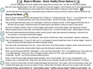 Meals in Minutes – Quick, Healthy Dinner Options
