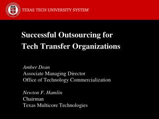 Successful Outsourcing for Tech Transfer Organizations