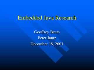 Embedded Java Research