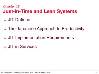 Chapter 12 Just-in-Time and Lean Systems