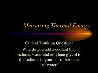 Measuring Thermal Energy