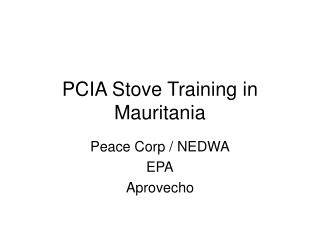PCIA Stove Training in Mauritania