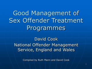 Good Management of  Sex Offender Treatment Programmes