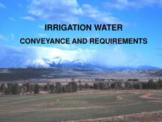 IRRIGATION WATER  CONVEYANCE AND REQUIREMENTS