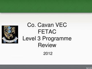 Co. Cavan VEC FETAC Level 3 Programme Review