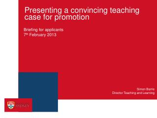 Presenting a convincing teaching case for promotion