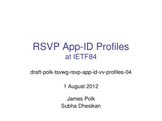 RSVP App-ID Profiles at  IETF84