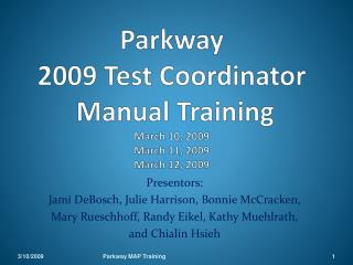Parkway  2009 Test Coordinator  Manual Training March 10, 2009 March 11, 2009 March 12, 2009