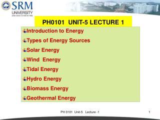 PH0101  UNIT-5 LECTURE 1