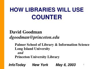 HOW LIBRARIES WILL USE  COUNTER