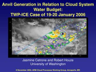 Anvil Generation in Relation to Cloud System  Water Budget:  TWP-ICE Case of 19-20 January 2006