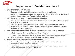 Importance of Mobile Broadband