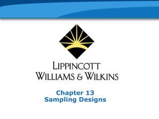 Chapter 13 Sampling Designs
