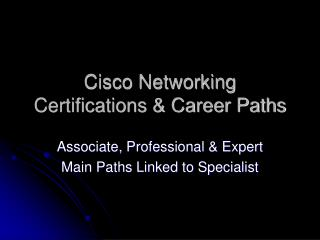 Cisco Networking Certifications & Career Paths