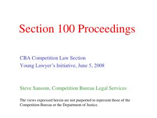 Section 100 Proceedings