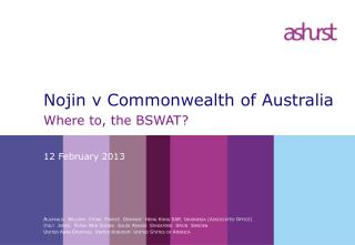 Nojin v Commonwealth of Australia