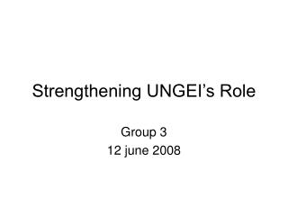 Strengthening UNGEI's Role