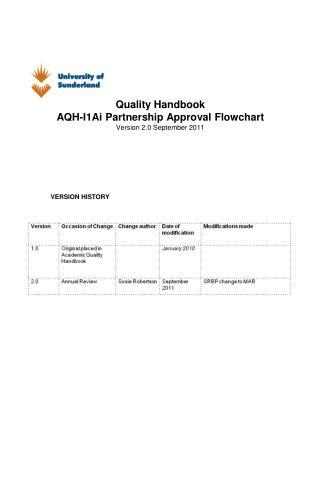 Quality Handbook AQH-I1Ai Partnership Approval Flowchart Version 2.0 September 2011