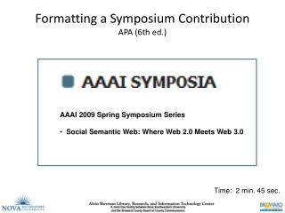 Formatting a Symposium Contribution